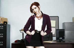 Kewl office girl satisfies devotees taking clothes off and posing with shoes on