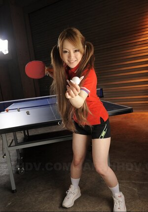 Ping-pong game makes twin-tailed Japanese player wanting to show small breasts