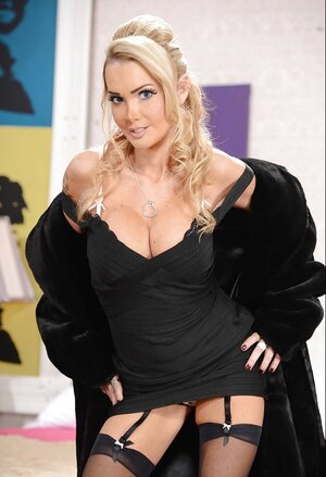 Panther takes black coat and besides besides dress down exposing touchable tits and besides besides fuck hole