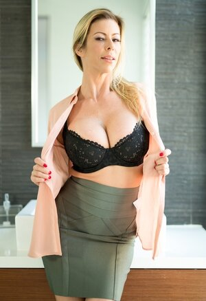 Classy Mom i`d like to fuck with outstanding boobs goes in bathroom to relax individual with no clothes