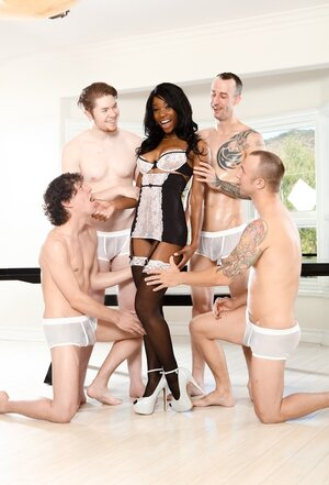 White men are ready to worship black slut who is open for double penetration